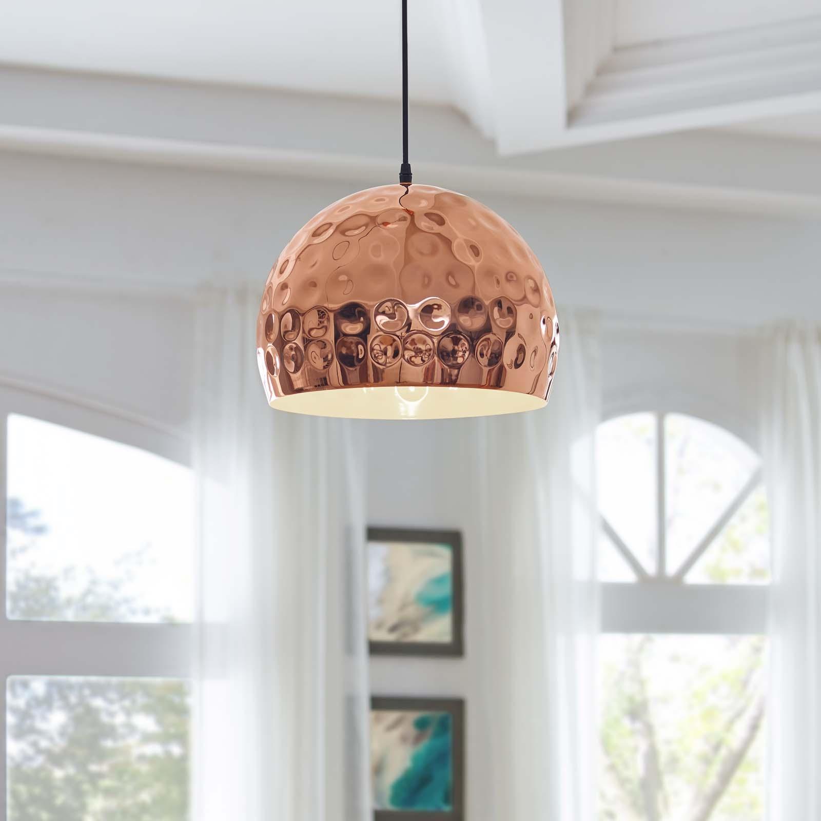 "Dimple 13.5"" Half-Sphere Rose Gold Pendant Light"