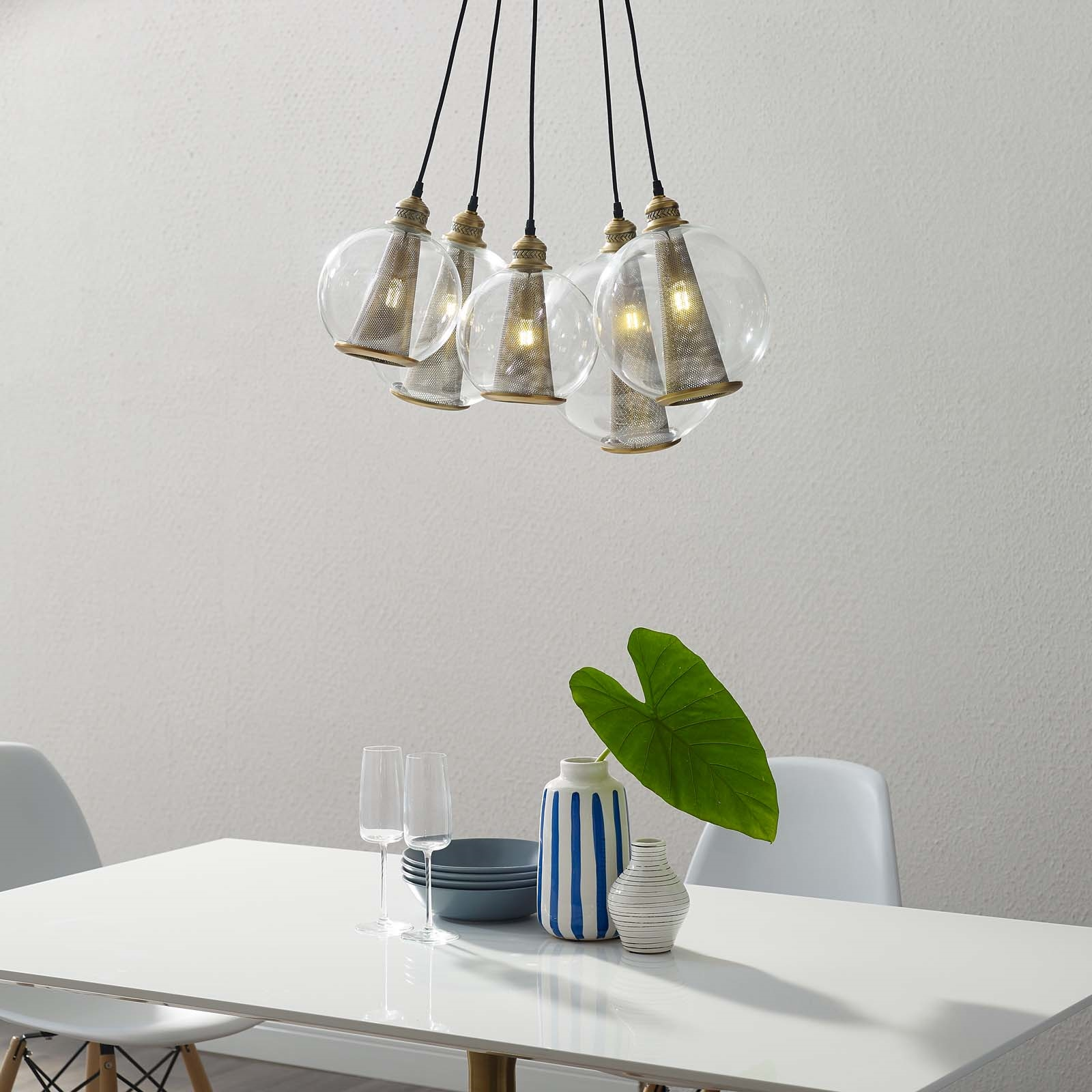 Peak Brass Cone And Glass Globe Cluster Pendant Light Chandelier