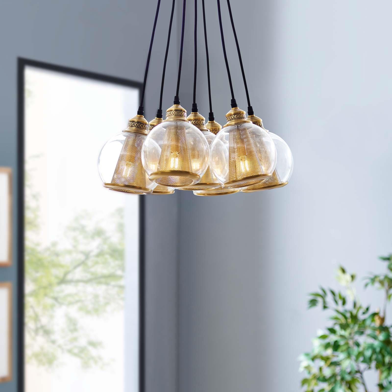 Peak Brass Cone and Glass Globe Cluster Pendant Chandelier