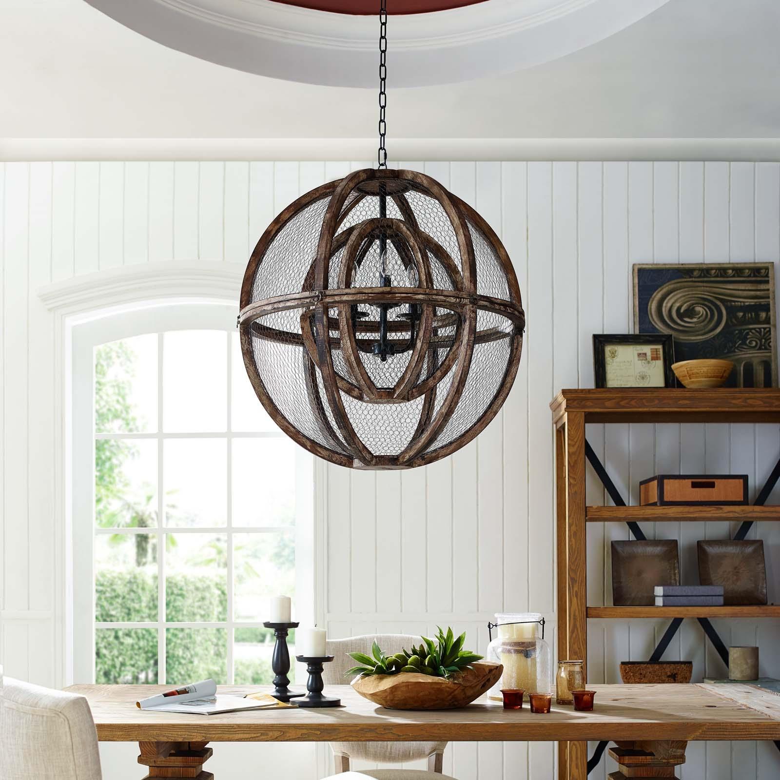 Gravitate Globe Rustic Oak Wood Pendant Light Chandelier