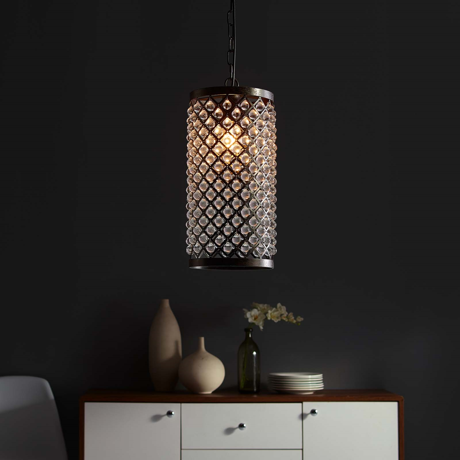 Reflect Glass and Metal Pendant Chandelier