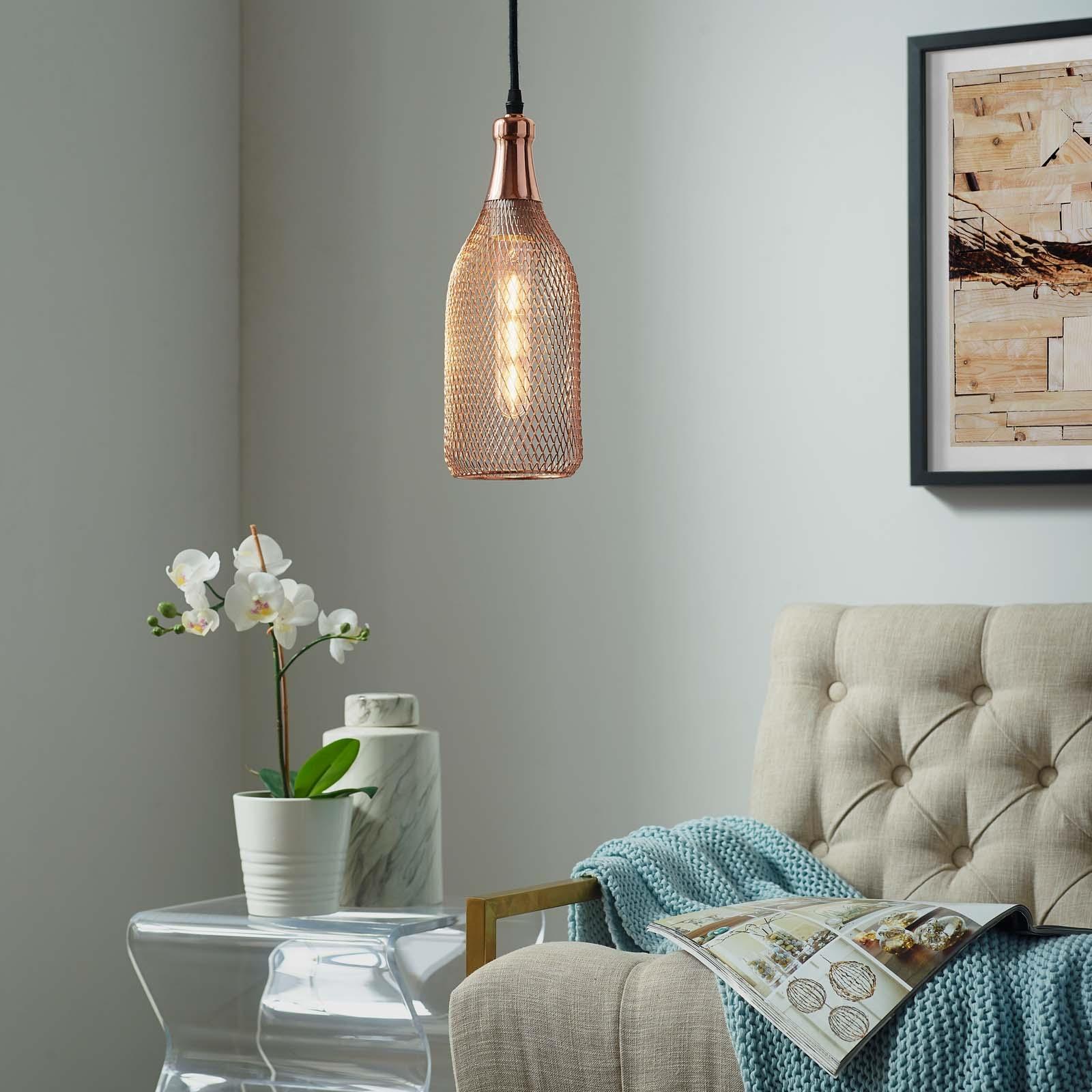 Glimmer Bottle-Shaped Rose Gold Pendant Light