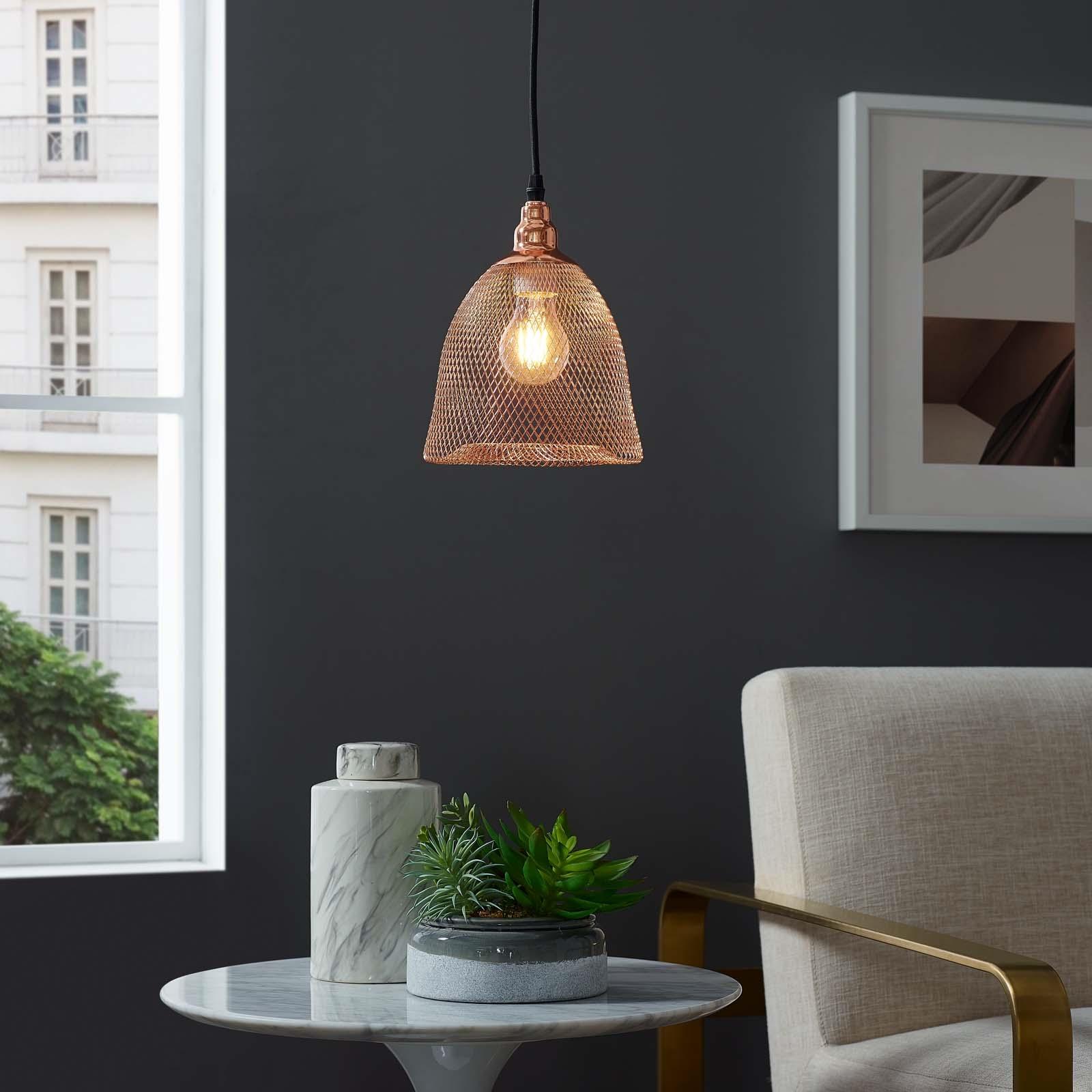 Glimmer Bell-Shaped Rose Gold Pendant Light