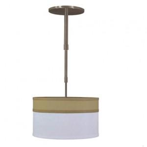 Bronze and White Linen Drum Shade Pendant Light