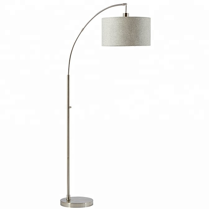 69'' H Rivet Steel Arc Floor Lamp With Fabric Shade